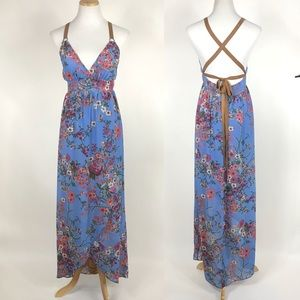 WAYF Floral Print Maxi Dress Strappy Back NWT